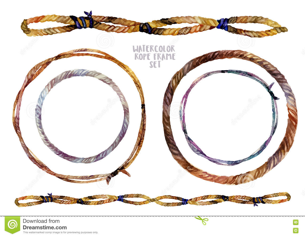 Watercolor Braided Rope Frames Set Stock Vector.