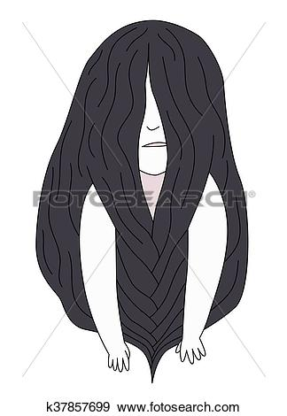 Clip Art of Braided brunette girl k37857699.