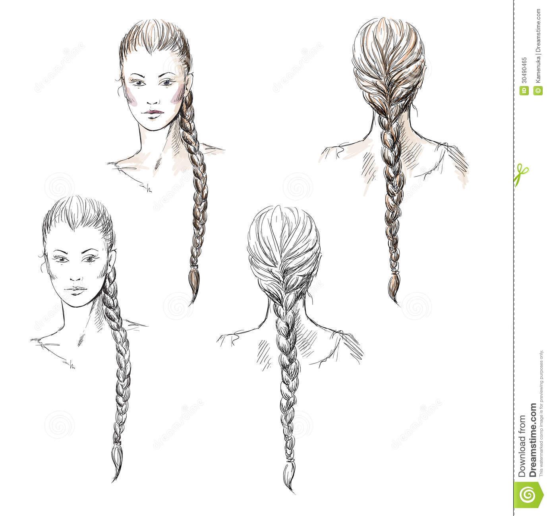 Hair Braid Stock Illustrations.