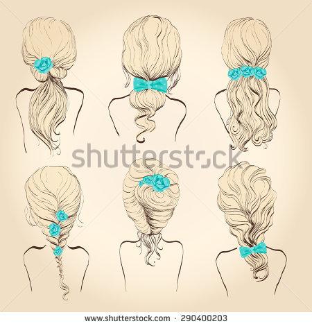 Back of head braid clipart.