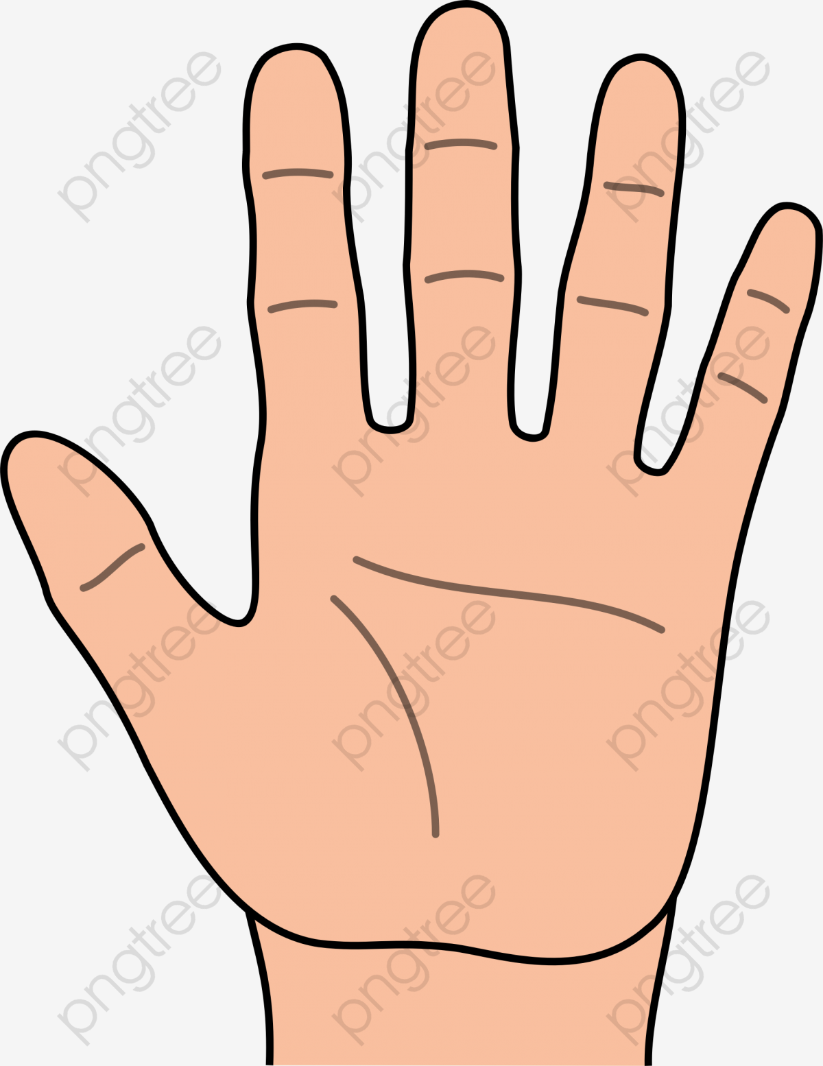 Left Hand Cartoon Hd, Cartoon Clipart, Palm, Five Fingers PNG.