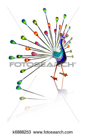 Drawing of Colorful hand carved peacock. k6888253.