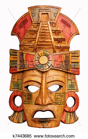 Stock Image of Hand carved wooden Mayan mask k7443685.