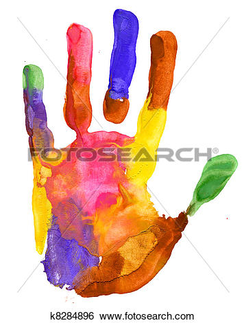 Clipart of Colored hand print on white background k13345401.