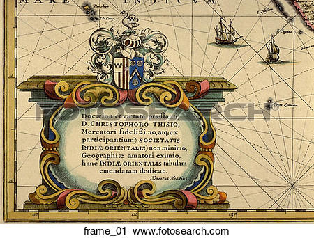Clipart of Antique Map Cartouche (hand.