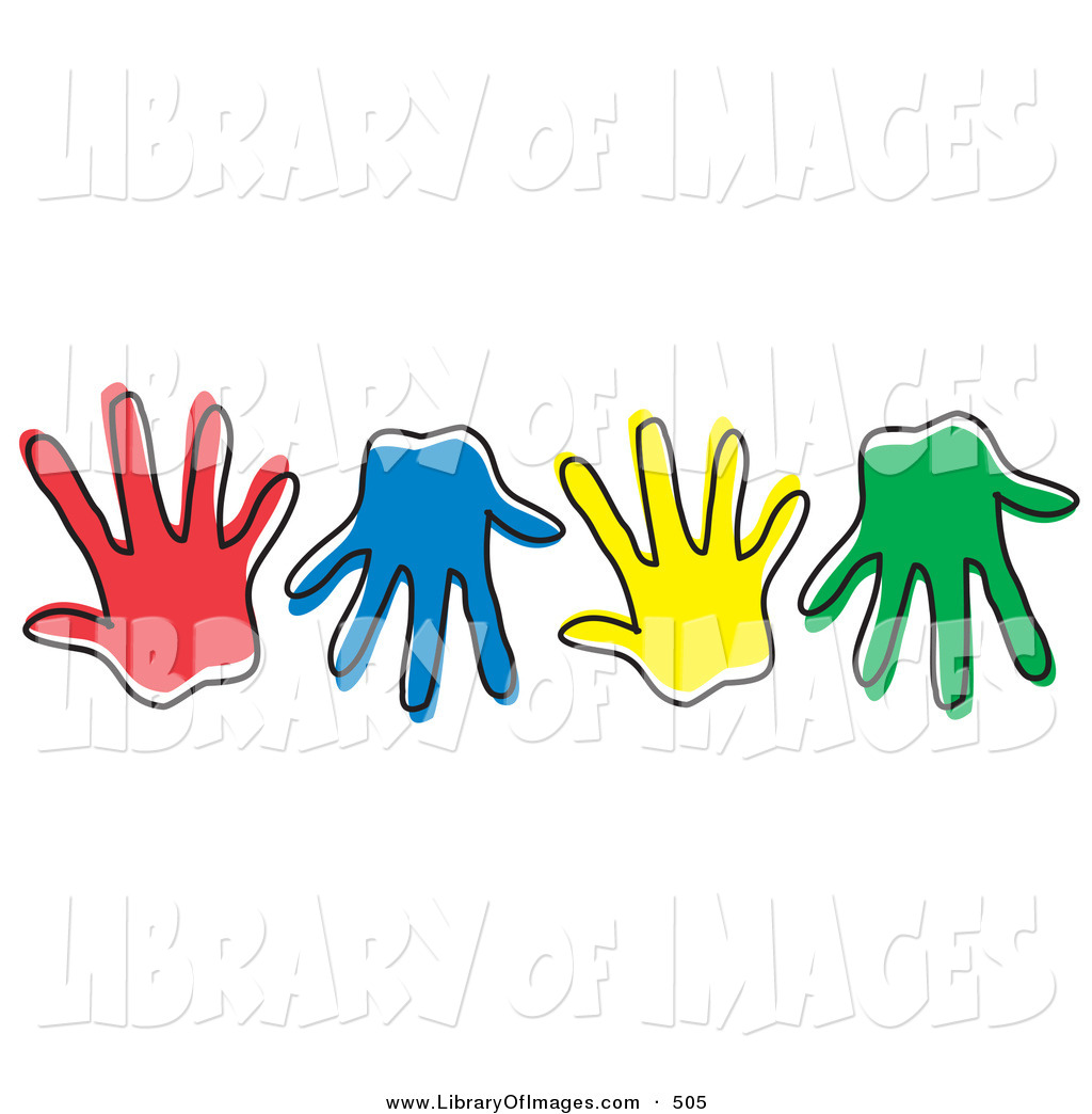 Hand Signal Colored Clipart.