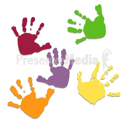 Five Colored Hand Prints.