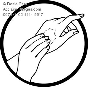 Applying Lotion Clipart Image.