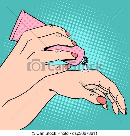 Vector Clip Art of Hand cream cosmetics skin care pop art retro.
