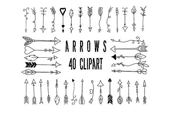 Clipart hand drawn arrow, digital ~ Add.
