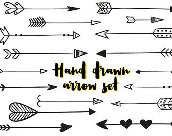 Arrows clip art, tribal arrow clip art, archery hand drawn arrows.