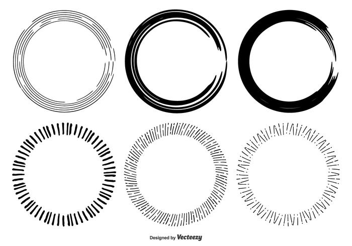 Hand Drawn Circle Frame Shapes.