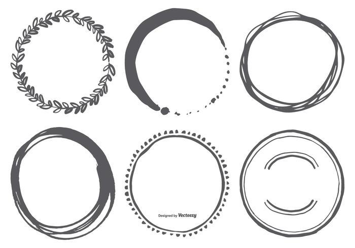 Hand Drawn Circle Vector Shapes.