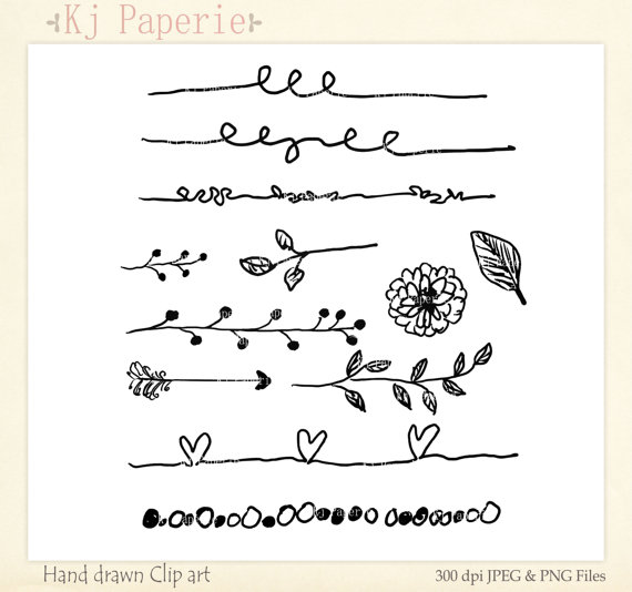 Text Dividers Clip art Hand Drawn clip art scrapbooking.