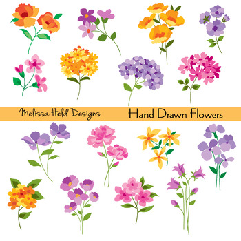 Hand Drawn Flowers Clipart.