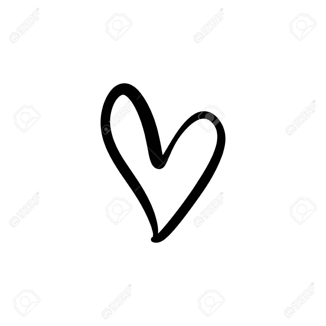 Hand drawn heart. Brush, ink. Decor element. Valentine's day...
