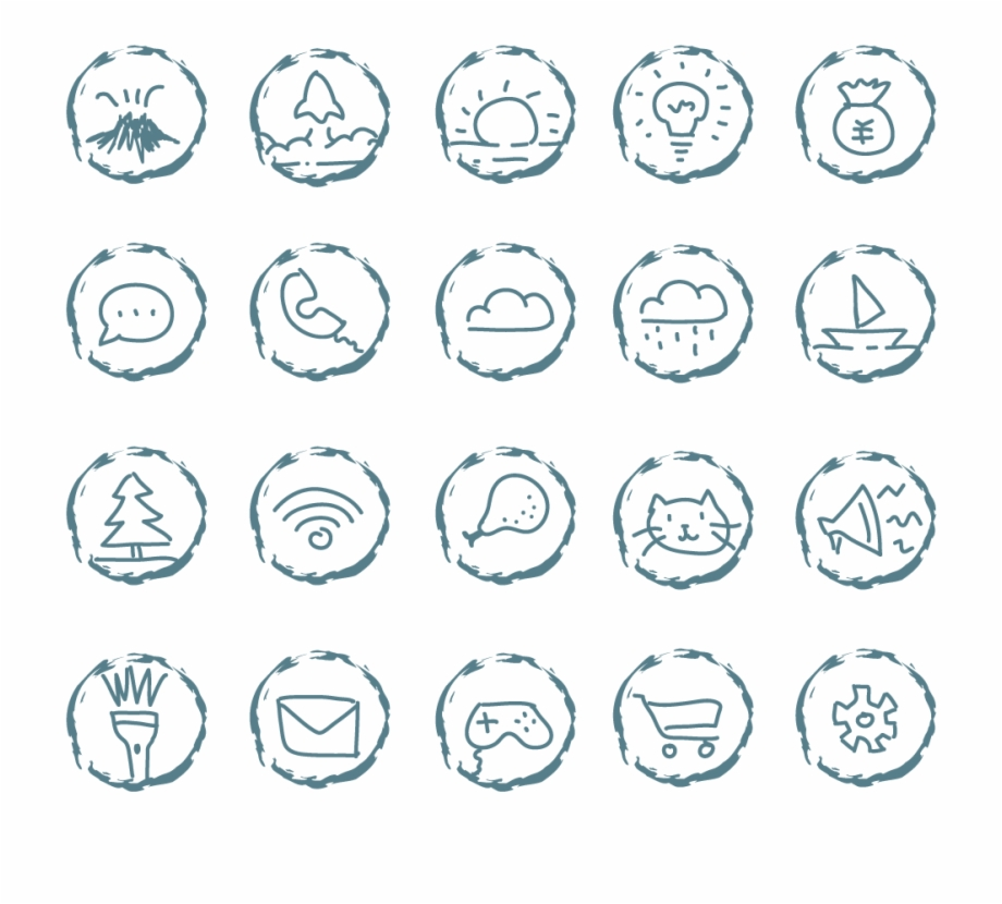 Ui Design Small Icons Hand Drawn Png And Vector Image.