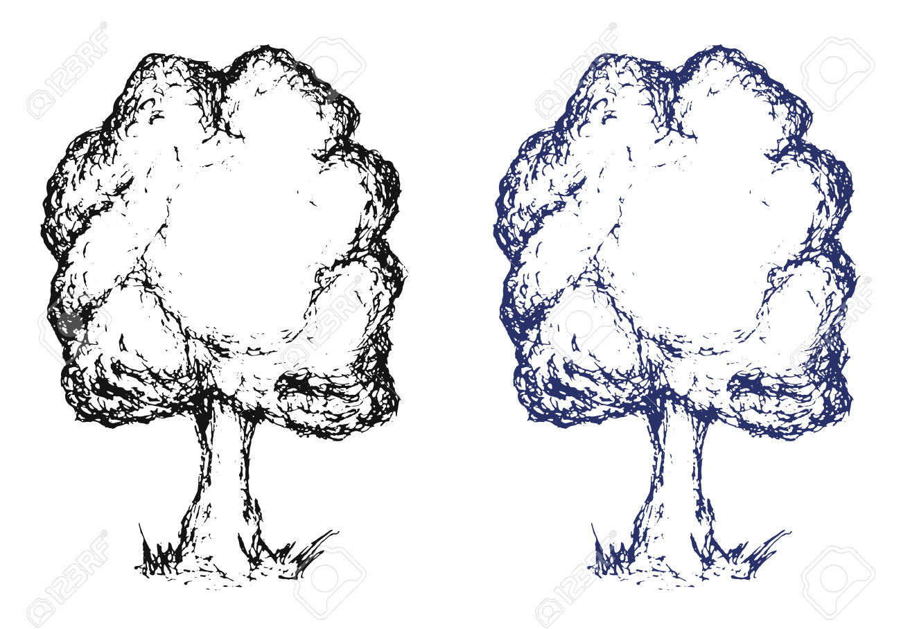 Hand Drawn Sketch Tree. Ink Pen Drawing. Vector Clip Art.
