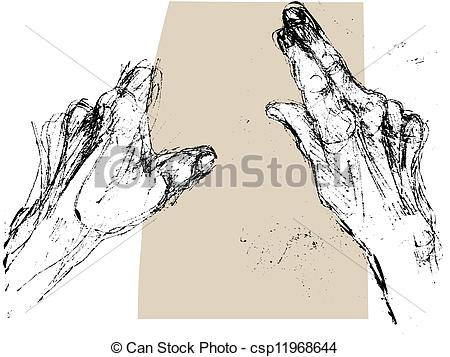 Drawing of old hands reading.