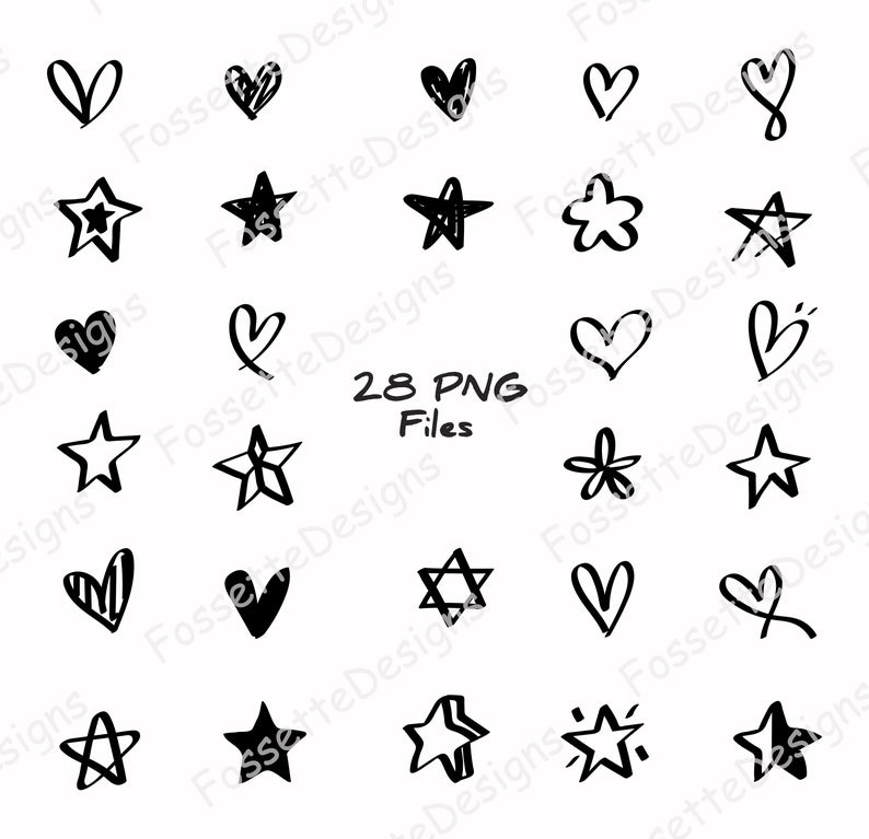 Hand drawn Heart and Star clipart.