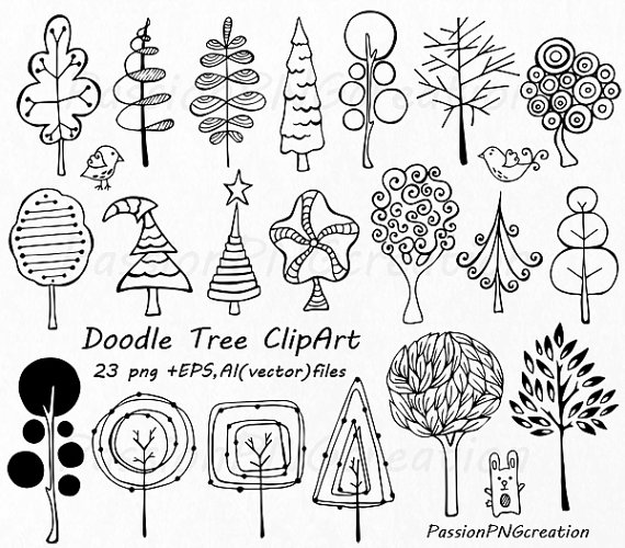 Doodle Trees Clipart Hand drawn tree clip by PassionPNGcreation.