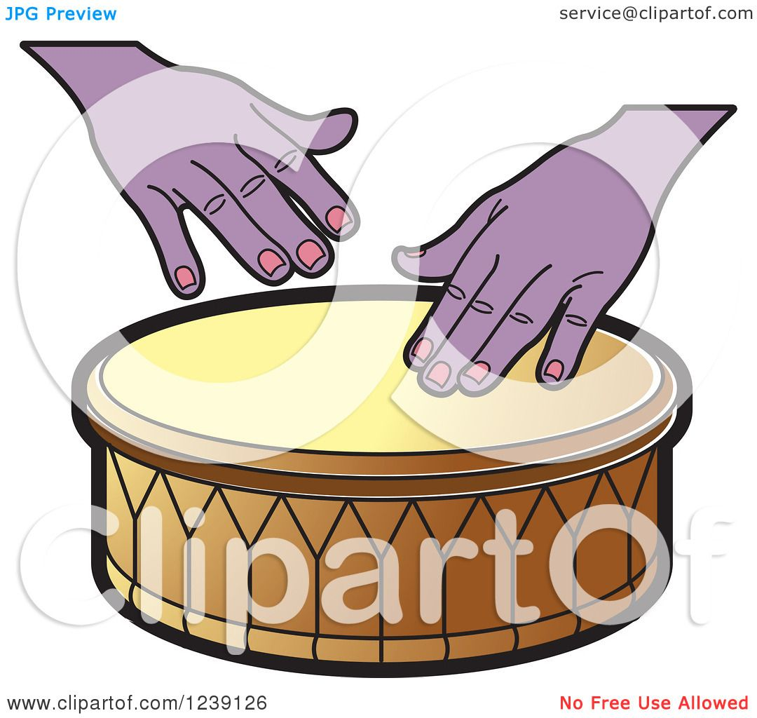 Clipart of a Drum and Hands 4.