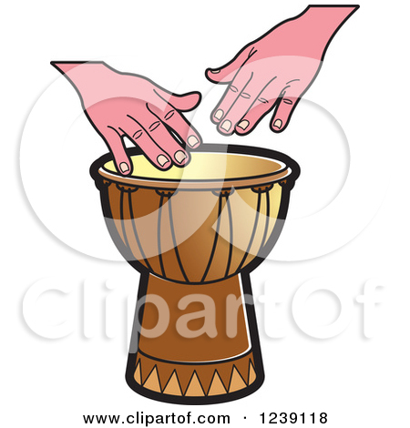 Clipart of a Black and White Drum and Hands 2.