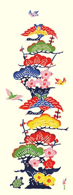 Japanese Tenugui Fabric, Red & White Camellia, Botanical Flower.