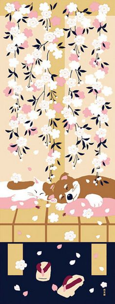 Japanese Tenugui Cotton Fabric, Kawaii Panda & Cherry Blossom.