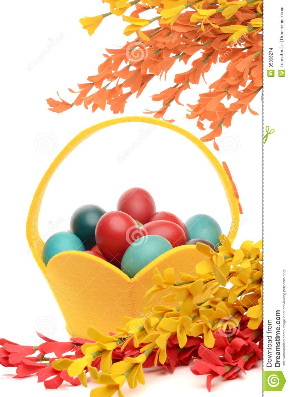 Colorful Hand Dyed Easter Eggs In A Yellow Basket, Decorations.