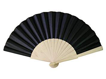 Black Wooden/Fabric Hand Fan.
