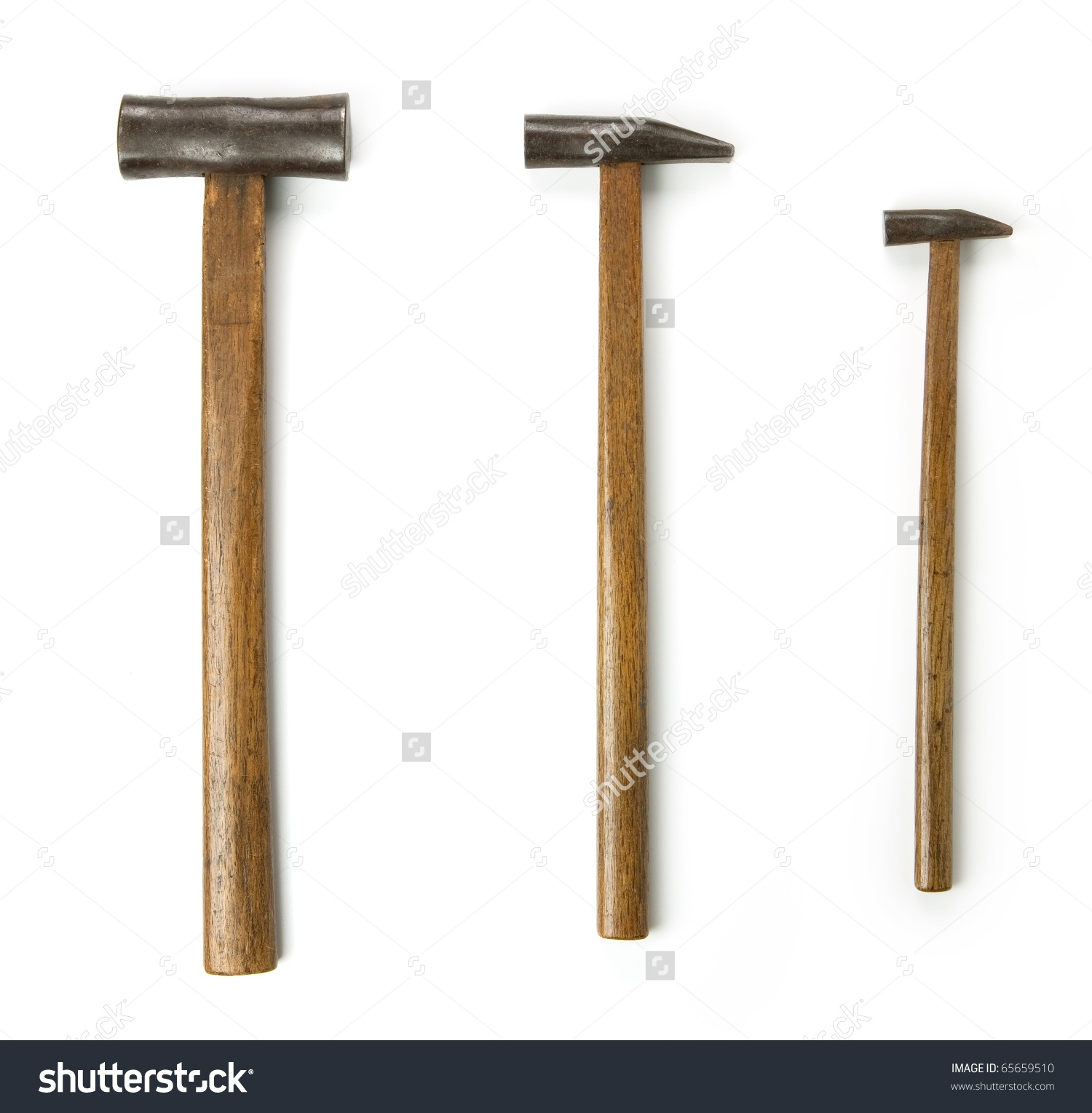 Set Three Antique Hammers Hand Forged Stock Photo 65659510.
