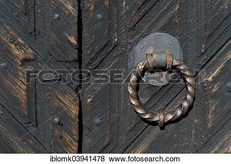 """Pictures of """"Hand forged door handle, old wooden church, Djursdala."""