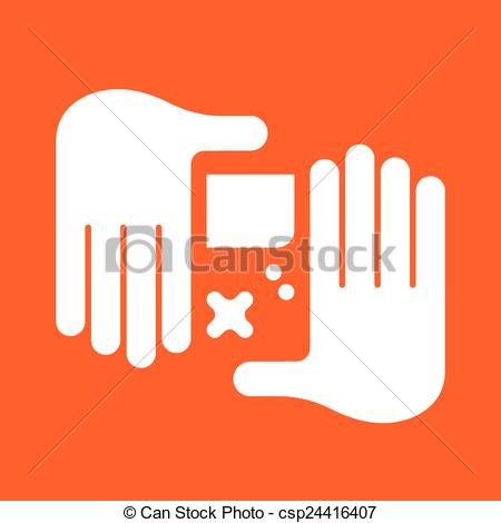 Vector Clipart of hand Game Console.