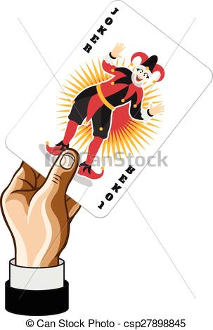 EPS Vector of Vector Joker game card in hand csp27898845.