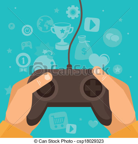 Vector Illustration of Vector online game concept.