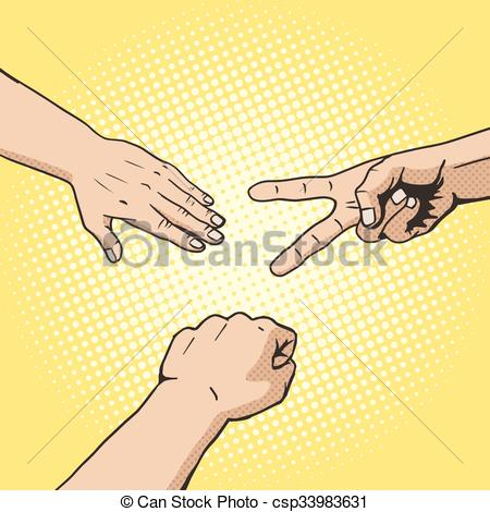 Vectors of Rock paper scissors hand game pop art style vector.