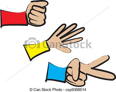 Rock paper scissors hand game Vector Clipart Illustrations. 37.