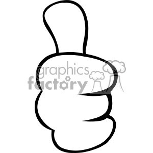 10685 Royalty Free RF Clipart Black And White Cartoon Hand Giving Thumbs Up  Gesture Vector Illustration clipart. Royalty.