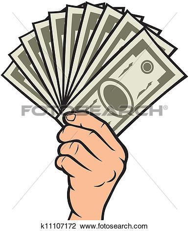 Clipart of hand giving money symbol k15771782.