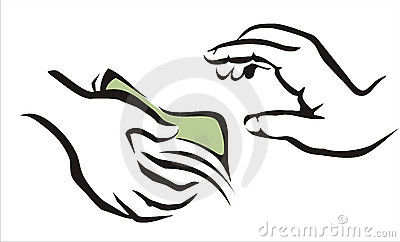 Hand Giving A Money Symbol Stock Photo.