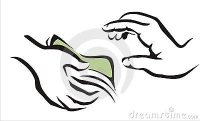 Hand Giving A Money Symbol Stock Photo.