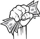 Hand Giving Money Clip Art.