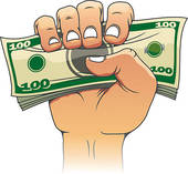 Hand Giving Money Clip Art.