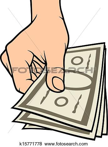 Clip Art of hand giving money k15771778.