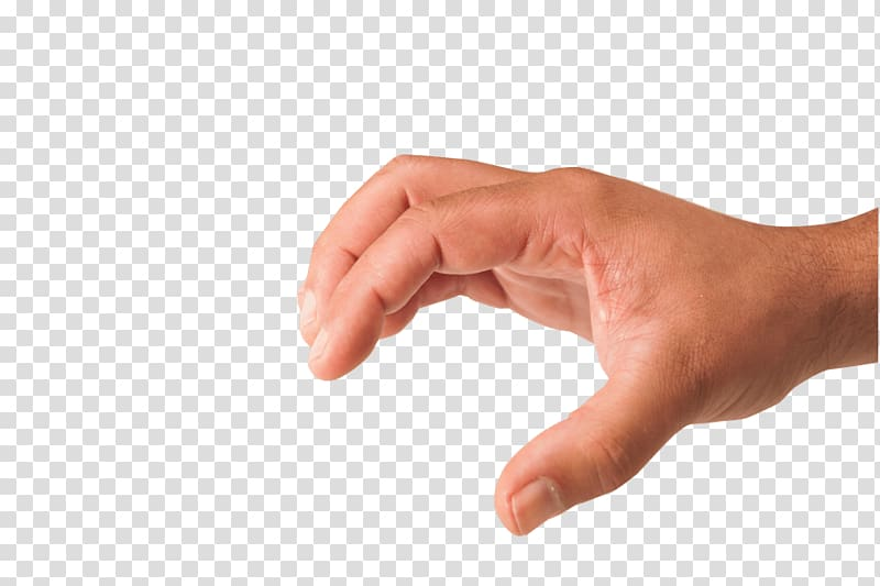 Right human hand showing letter c, Grabbing Hand transparent.