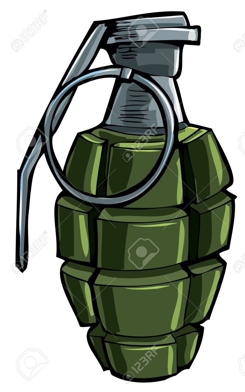 Cartoon Drawing Of A Hand Grenade. Isolated Royalty Free Cliparts.