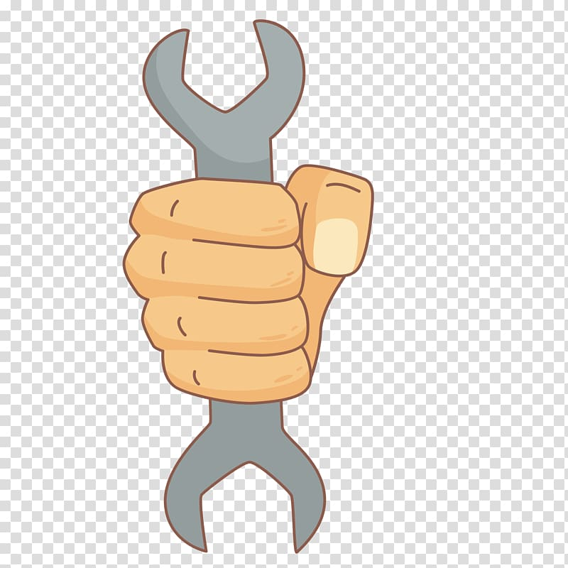 Drawing Cartoon Laborer Tool, grip wrench transparent.