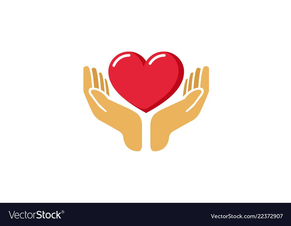 Love giving heart love hands holding logo.