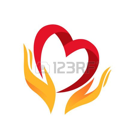 heart hands: Heart in hand symbol, sign, icon, logo template.